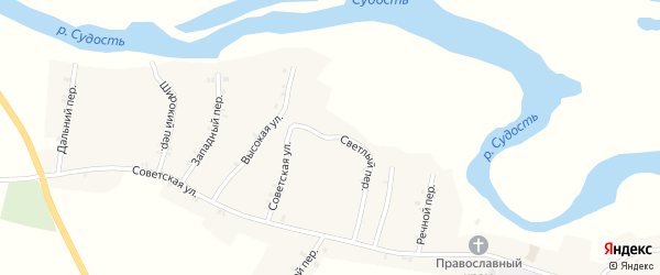 Светлый переулок на карте села Посудичи с номерами домов