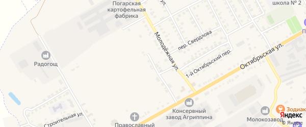 Молодежный переулок на карте поселка Погара с номерами домов