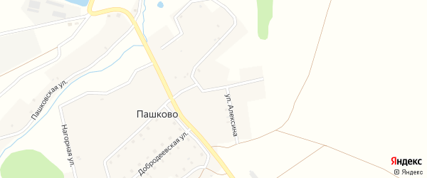 Улица Алексина на карте деревни Пашково с номерами домов