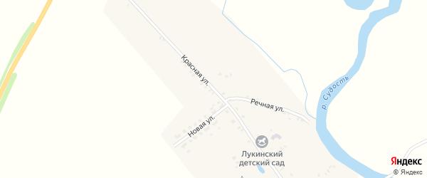 Красная улица на карте деревни Лукина с номерами домов