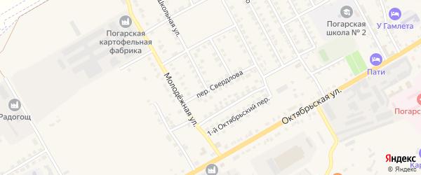 Переулок Свердлова на карте поселка Погара с номерами домов