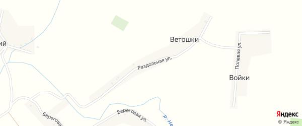 Раздольная улица на карте деревни Ветошки с номерами домов