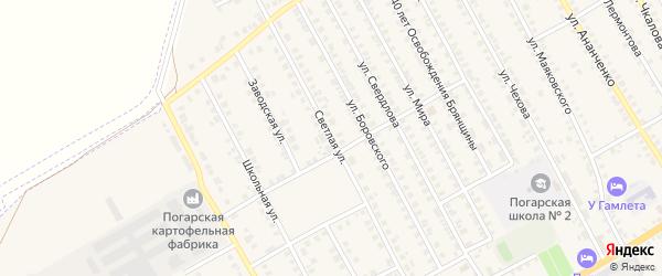 Светлая улица на карте поселка Погара с номерами домов