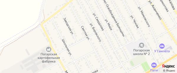 Школьный переулок на карте поселка Погара с номерами домов