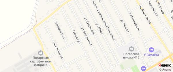 Улица Боровского на карте поселка Погара с номерами домов