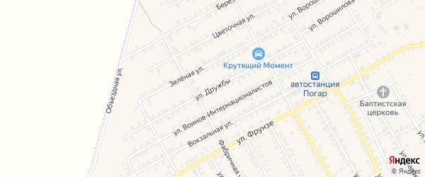 Улица Дружбы на карте поселка Погара с номерами домов