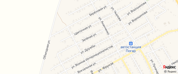 Зеленая улица на карте поселка Погара с номерами домов