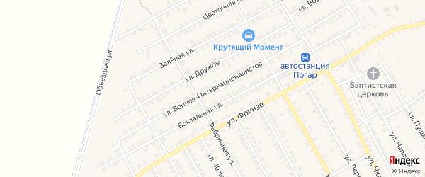 Улица Воинов-Интернационалистов на карте поселка Погара с номерами домов