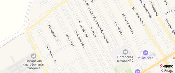 Улица Свердлова на карте поселка Погара с номерами домов