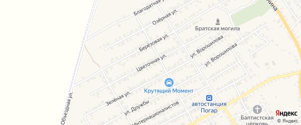 Цветочная улица на карте поселка Погара с номерами домов