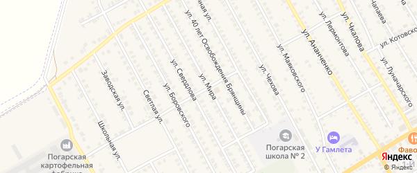 Улица Мира на карте поселка Погара с номерами домов