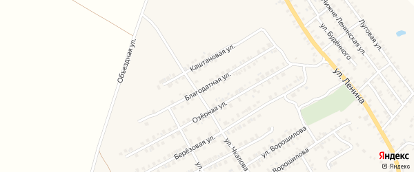 Благодатная улица на карте поселка Погара с номерами домов