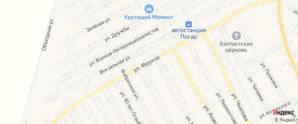 Улица Фрунзе на карте поселка Погара с номерами домов