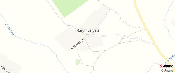 Садовая улица на карте деревни Завалипути с номерами домов