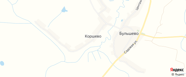 Карта деревни Коршево в Брянской области с улицами и номерами домов