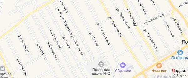 Улица Чехова на карте поселка Погара с номерами домов