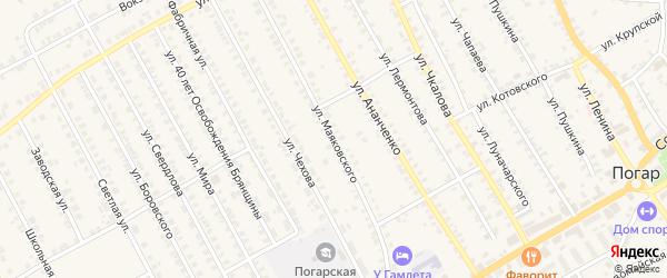 Улица Маяковского на карте поселка Погара с номерами домов