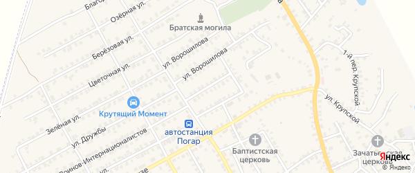 Переулок 2-й Ворошилова на карте поселка Погара с номерами домов