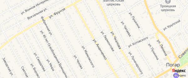 Улица Ананченко на карте поселка Погара с номерами домов