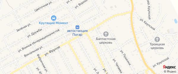Улица Чкалова на карте поселка Погара с номерами домов