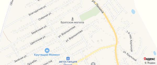 Улица Ворошилова на карте поселка Погара с номерами домов