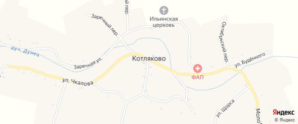 Переулок Коммунаров на карте села Котляково с номерами домов