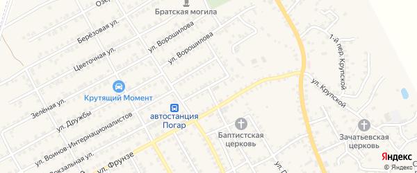 Переулок 1-й Ворошилова на карте поселка Погара с номерами домов