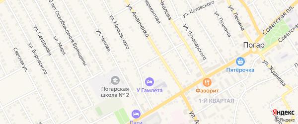 Переулок Ананченко на карте поселка Погара с номерами домов