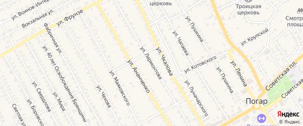 Улица Лермонтова на карте поселка Погара с номерами домов