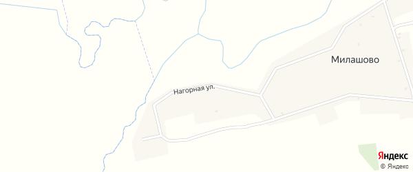 Нагорная улица на карте деревни Милашово с номерами домов