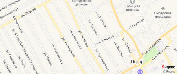 Улица Луначарского на карте поселка Погара с номерами домов