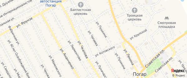 Улица Чапаева на карте поселка Погара с номерами домов
