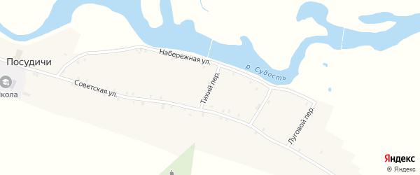 Тихий переулок на карте села Посудичи с номерами домов