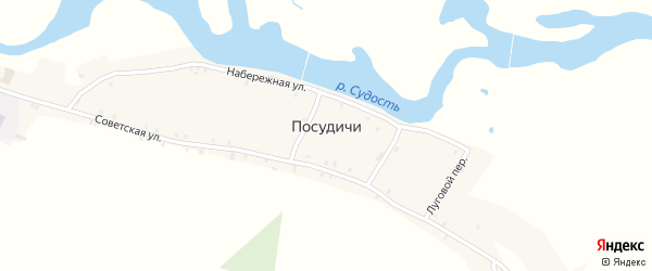 Верхний переулок на карте села Посудичи с номерами домов