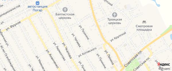 Улица Пушкина на карте поселка Погара с номерами домов