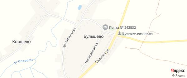 Полевая улица на карте деревни Бульшево с номерами домов