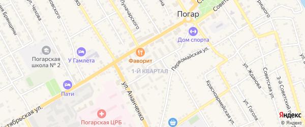 Улица 1-й Квартал на карте поселка Погара с номерами домов