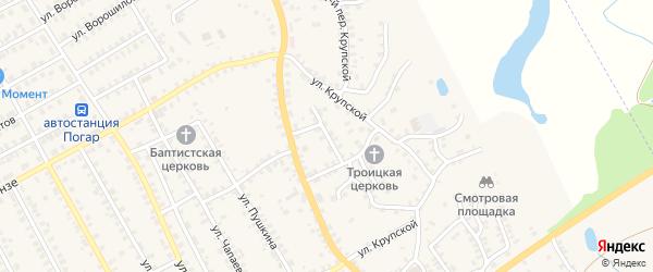 Садовая улица на карте поселка Погара с номерами домов