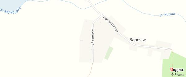 Заречная улица на карте деревни Заречья с номерами домов