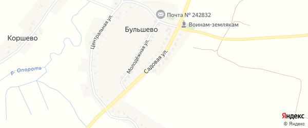 Садовая улица на карте деревни Бульшево с номерами домов
