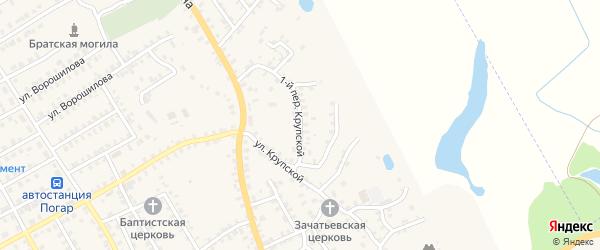 1-й Крупской переулок на карте поселка Погара с номерами домов