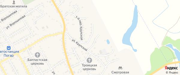2-й Крупской переулок на карте поселка Погара с номерами домов