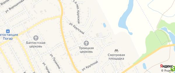 Улица Крупской на карте поселка Погара с номерами домов