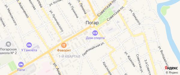 Первомайский переулок на карте поселка Погара с номерами домов