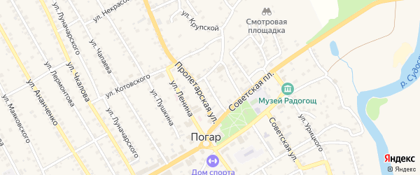 1-й Пролетарский переулок на карте поселка Погара с номерами домов