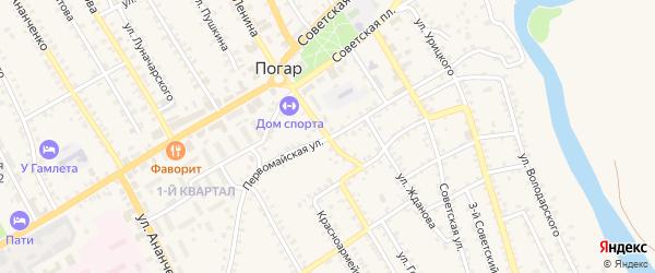 Первомайская улица на карте поселка Погара с номерами домов