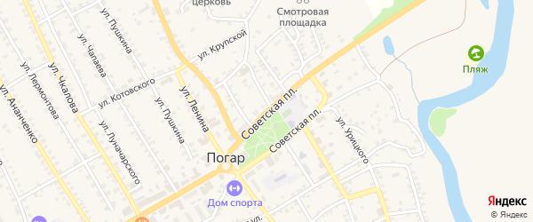 Советская площадь на карте поселка Погара с номерами домов