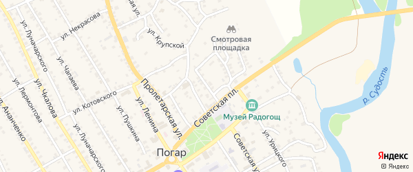 3-й Пролетарский переулок на карте поселка Погара с номерами домов