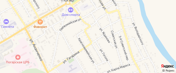 Красноармейский переулок на карте поселка Погара с номерами домов