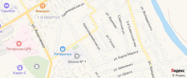Красноармейская улица на карте поселка Погара с номерами домов